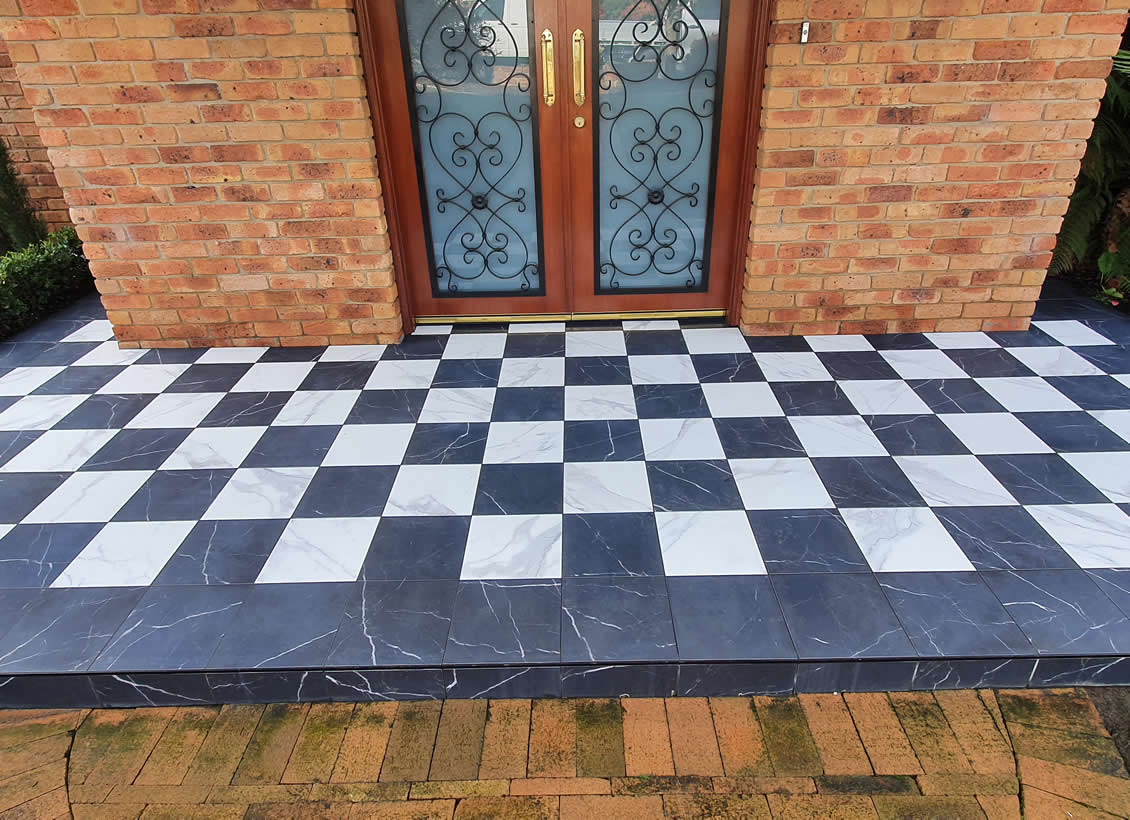 Tiled front porch with anti-slip treatment