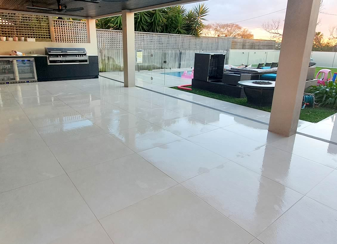 Non-slip treatment for patio and pool area
